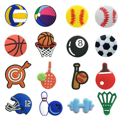 50pcs Sports Balls PVC Shoe Charms Buckles Decoration Jibitz for Croc Shoes Gift