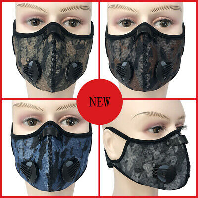 Camo Activated Carbon Face Shield Filter Anti-fog Dust Proof Cycling Face Cover