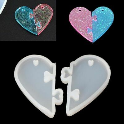 Heart Silicone Mold Love lock lovers Pendant Molds Resin DIY Jewelry Resin Mould