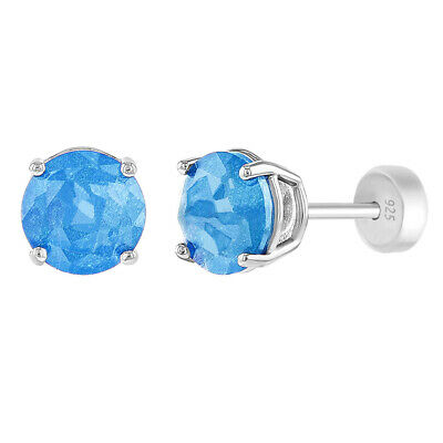 925 Sterling Silver Blue Prong Set Solitaire Safety Back Earrings for Girls