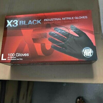 Nitrile disposable gloves 100 ct Latex Free & Powder Free Black M