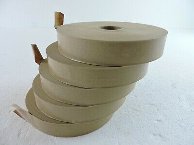 Lot of 5 Rolls Brown Paper Gummed Water Activated Tape 500 ft each roll