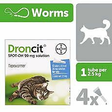Droncit Spot On Tubes for Treatment of Tapeworms in Cats - 4 x 0.5ml