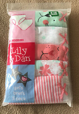 BNWT Lily & Dan Girls 5 Pack Patterned Knickers. Age 9-10 Years