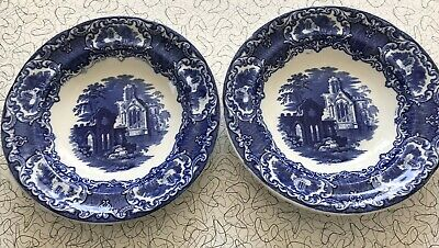 Two Large Antique Abbey Willow Pattern Soup bowls Blue And White
