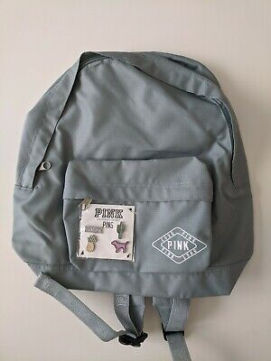 Victoria Secret PINK Gray Mini Backpack with pins
