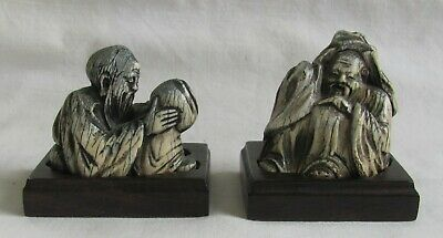 Two Antique Ming or Ming Style Carvings of Immortals-NR