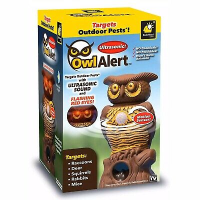 Ultrasonic Owl Alert Realistic Decoy Motion Activated Pest Control As Seen On TV