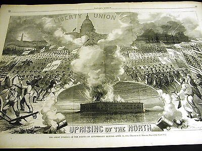 Uprising of North LIBERTY UNION Anniversary1862 Large Print w MAP NEW ORLEANS