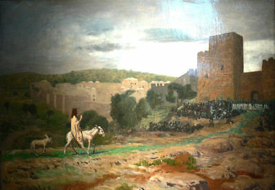 """oil painting handpainted on canvas""""Entry of the Christ in Jerusalem """"@N10411"""