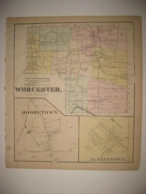 Antique 1871 Worcester Township Jenkintown Mooretown Pennsylvania Handcolor Map
