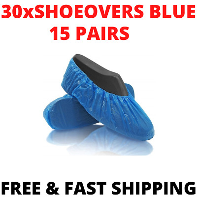 30 X Disposable Shoe Cover Blue Plastic Anti Slip Overshoes Cleaning Boot Safety