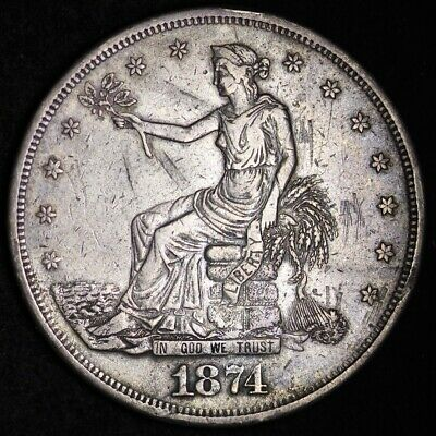 1874-CC Trade Dollar CHOICE XF FREE SHIPPING E371 AHFC