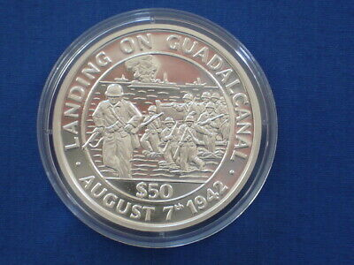 Tokelau 50$ Silver Proof 1991 World War II Landing on Guadalcanal