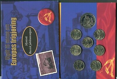 Russia World War II Liberation of Europe 8 Coin Proof & UNC Set in Folder