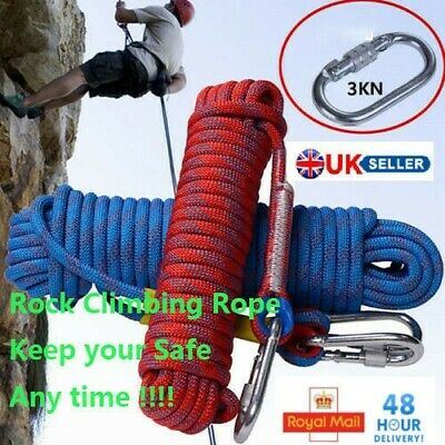 10-50M Outdoor Climbing Rope Static Rock Rope Escape Rope Ice Climbing Parachute