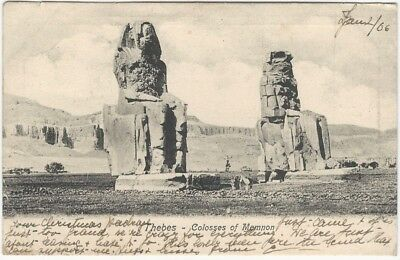 1900s Thebes Colosses of Memnon Union Postale Ancient Egypt Postcard