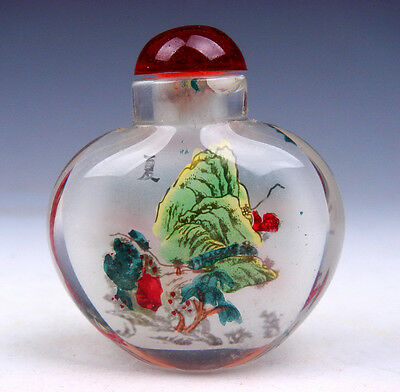 Peking Glass Inside Reverse Hand Painted Summer Scenery Snuff Bottle #01021601