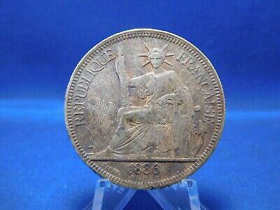 1886 Piastre Silver Coin French Indochine Vietnam