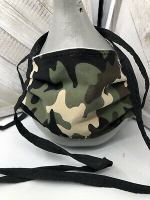 Camo Camouflage Cotton Face Mask Hand Made Ties Nose Wire