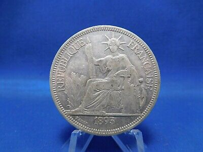 1895 Piastre Silver Coin French Indochine Vietnam