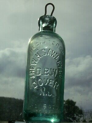 Vintage embossed  W.H. Cawley Co. Dover, N. J.  Hutchinson type bottle & stopper