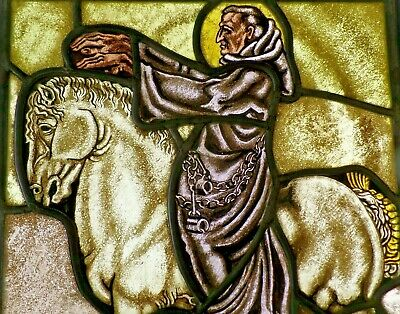 """Leaded Glass Seltene Antique Stained Glass """" Saint Leonhard To Horse """""""