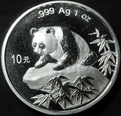 1999 China Panda 1 Ounce .999 Fine Silver 10 Yuan Coin