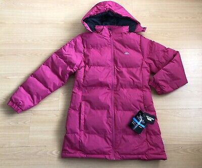 TRESPASS Girls Tiffy Long Padded Hooded Jacket Pink Size 11-12 Years