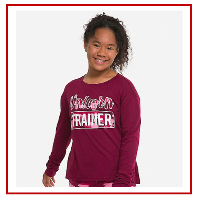 *NEW* JUSTICE GIRLS SIZE 8 10 GLITTER UNICORN TRAINER LONG SLEEVE TOP TEE