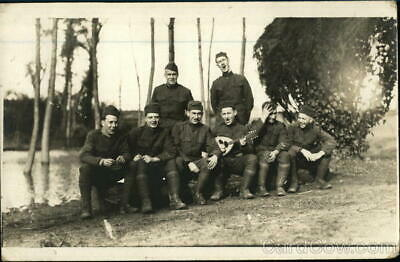 RPPC Group photograph of soldiers singing Real Photo Post Card Vintage