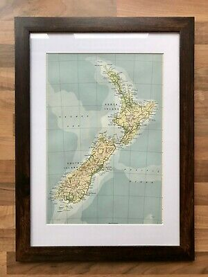 Vintage Map of New Zealand, 1960's - Mounted & Framed