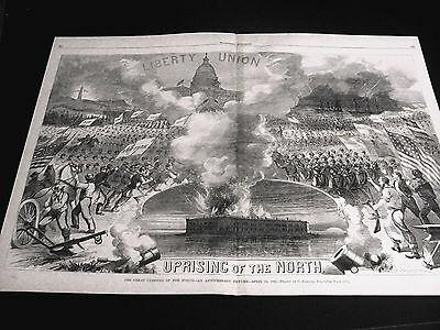 Parsons UPRISING of NORTH - Liberty Union ANNIVERSARY 1862 Large Print and MAP