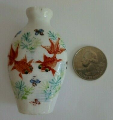 Stunning Rare Qiunlong Antique Chinese Koi Fish Enamel Porcelain Snuff Bottle!!!