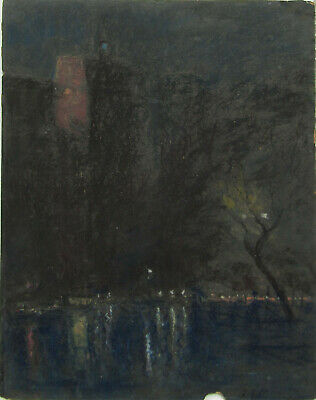 Frederick Wagner NYC or Philadelphia Night View OLD Oil Pastel Painting NO RES.