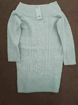 River Island Girls Grey Knit Pearl Bardot Top Size*5-6 Years*New In Bag