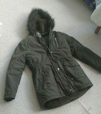 Girls Khaki Green Hooded Parka Coat Quited Fleece lined Size 11 - 12 Years