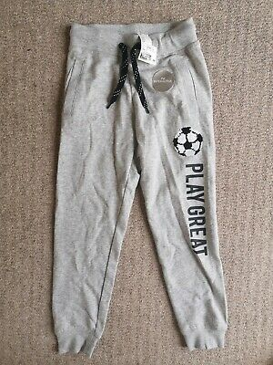 NEW H&M Younger Boys Grey Marl Tracksuit Bottoms Joggers Sequin Football Age 8-9