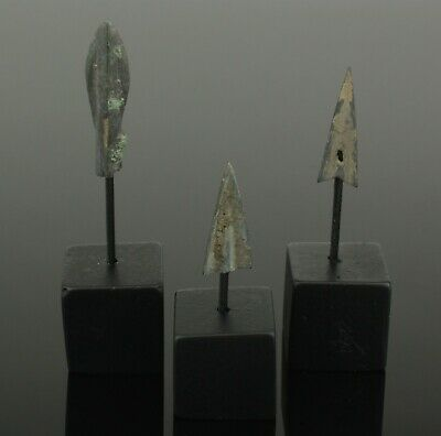 3 X High Quality Ancient Greek Bronze Arrow Heads Dating - 5Th Century Bc  03