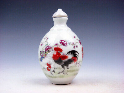 Famille-Rose Glazed Porcelain Snuff Bottle Big Tail Roosters & Flowers #05172001