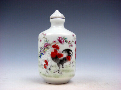 Famille-Rose Glazed Porcelain Snuff Bottle Big Tail Roosters & Flowers #05172003