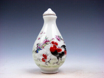 Famille-Rose Glazed Porcelain Snuff Bottle Big Tail Roosters & Flowers #05172002