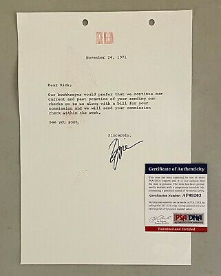 Ozzie Nelson Signed 1971 Typed Letter ADVENTURES OF OZZIE & HARRIET PSA/DNA