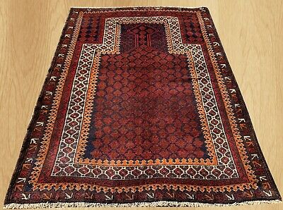 Authentic Hand Knotted Afghan Balouch Prayer Wool Area Rug 4.5 x 3.2 Ft (145 HM)