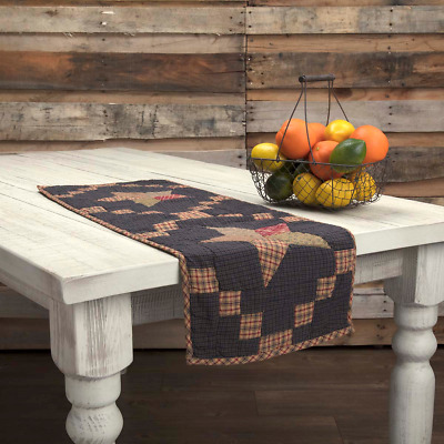 New Primitive Americana Navy ARLINGTON STAR QUILTED PATCHWORK Table Runner 36""