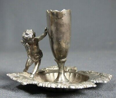 Antique Derby Silver Co. Quadruple Silver Plate Cherub Toothpick Match Holder