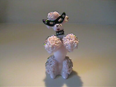 Vintage 1950 Ceramic Pink Begging Spaghetti Poodle With Glasses