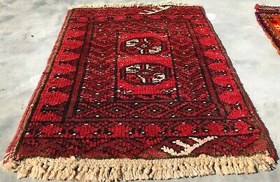 Authentic Hand Knotted Vintage  Afghan Turkmon Wool Area Rug 2 x 2 Ft (9044 BN)