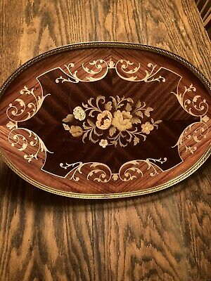 Vintage Italian Sorrento Handled Serving Tray Wood Inlaid Floral Pattern