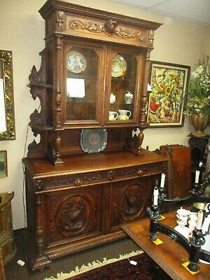 Antique French Carved Hunt Cupboard Cabinet Quail
